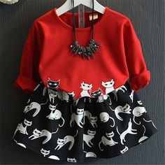 >> Click to Buy << Cute Baby Girls Cartoon Cats Dress Fashion Girl Two Piece Clothing Sets Korean Children 2017 New Spring Kids Outfits Clothes #Affiliate