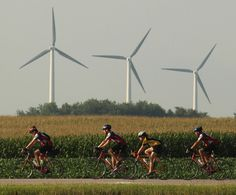 Ragbrai. You can tell it's  Iowa!  No other state has so many wind mills. They are everywhere!