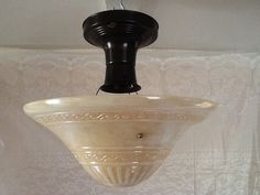 Vintage Art Deco Pressed Glass Ceiling Light by AntiqueLights