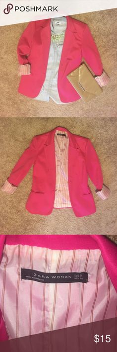Zara pink blazer, size S Hot pink women's blazer with pinstripe lining. Slim through waist, fitted in arms Zara Jackets & Coats Blazers