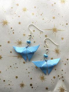 Boucles Du0027oreilles Papillon En Papier Origami Bleu/cadeau Pour Elle/bijou  Fillette
