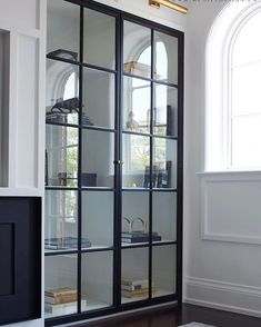 McGee Home Process - Entry & Great Room Inspiration - # - . - McGee Home Process - Entry & Great Room Inspiration - # - - Bookshelves Built In, Built Ins, Bookcases, Bookcase With Glass Doors, Glass Shelves Kitchen, Built In Cabinets, Display Cabinets, Glass Cabinet Doors, Living Room Glass Cabinet