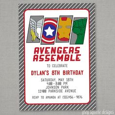 Avengers Superhero Birthday Party Invitation by greysquare on Etsy, $12.00