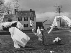 Woman Hanging Up the Laundry on the Line Photographic Print by Ed Clark at Art. Vintage Laundry, Photo Vintage, Life Magazine, Old Photos, Antique Photos, Vintage Pictures, Vintage Photographs, Professional Photographer, Hanging Out