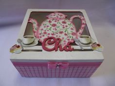 Caixa de chá quadrada com 4 divisóes, decorada com decoupagem, aplique em MDF e…