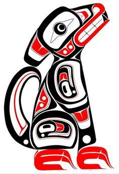 Wolf design by Eric Parnell, Haida. Native American Wisdom, Native American Design, Native Design, American Indian Art, Tribal Animal Tattoos, Tribal Animals, Tribal Art, Haida Kunst, Haida Art