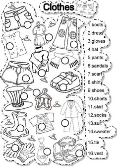 Clothes - ESL worksheet by gabitza English Teaching Materials, Learning English For Kids, English Worksheets For Kids, Teaching English, Learn English, English Lessons For Kids, English Activities For Kids, Vocabulary Worksheets, Preschool Worksheets