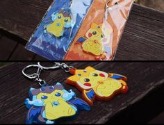2pcs Pokemon Pikachu Rubber Keychain Keyring Key Ring Cute Christmas Gift #Unbranded