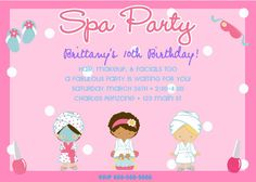 spa invitations on etsy