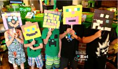 Throwing a Minecraft birthday party? Check out all of our ideas for food, decor, games, activities, and even party favors. College Party Games, Boy Party Games, Backyard Party Games, Dinner Party Games, Graduation Party Games, How To Play Minecraft, Minecraft Pixel Art, Minecraft Crafts, Minecraft Skins
