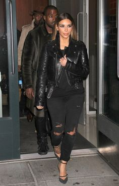 Kim Kardashian wearing BLK DNM Leather Jacket 1 Balenciaga Fall 2013 Sandals Current/Elliott Ankle Skinny jeans in Overdye Black Destroyed