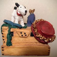 Peter Fagen Pennywhistle Lane Toby Dog on Wooden Chest Figurine  657832