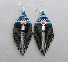 Vampire Halloween Earrings in delica seed by DsBeadedCrochetedEtc, $30.00