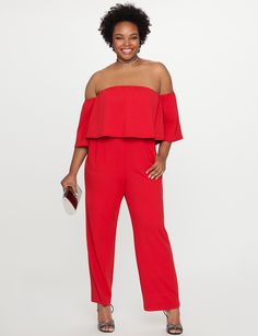 View our Off the Shoulder Ruffle Overlay Jumpsuit and shop our selection of plus size designer women's Dresses, plus size clothing and fashionable accessories. What Is Cocktail Attire, Summer Cocktail Attire, Cocktail Attire For Women, Vestidos Plus Size, Plus Size Dresses, Plus Size Outfits, Plus Size Jumpsuit, Jumpsuits For Women, Chic