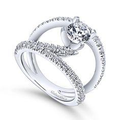Nova 14k White Gold Round Split Shank Engagement Ring angle 3