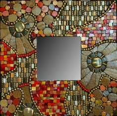 "Libby Hintz -- Commissioned mirror 10""x 10"" mirror with vitreous tile, ball chain, smalti, ceramic tile, beads from Antelope beads.  