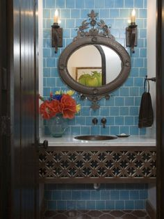 Possible accent color.  Turquoise Tile Spanish Bathroom