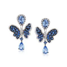 """Wear the 2.40 ct. t.w. pear-shaped sapphire and .32 ct. t.w. diamond studs solo or with the pretty 1.00 ct. t.w. sapphire butterfly earring jackets for an impossible-to-miss display of feminine whimsy. With earring jackets attached, hanging length is 3/4"""". Post/clutch, diamond and sapphire stud and earring jacket set. Free shipping & easy 30-day returns. Fabulous jewelry. Great prices. Since 1952."""
