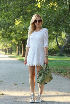 lace dress and gold hi tops...Adore!!