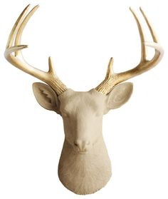 Resin Deer Head Antler Art, White modern-decorative-objects-and-figurines