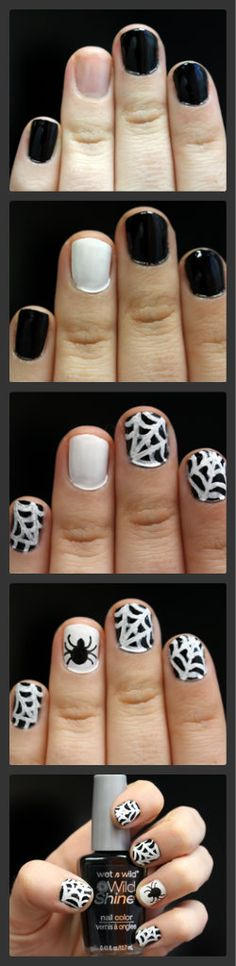 Spiderweb Nail Art #Halloween #Halloween2013 #Nails #nailart