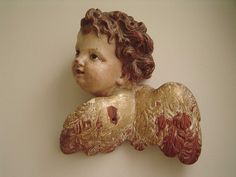VERY FINE VINTAGE GILT CARVED WOOD GESSO FRAGMENT CHERUB PUTTO ANGEL GLASS EYES