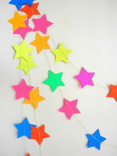 Neon Star party Garland, Rainbow bunting, colorful party decor, kids room decor, nursery decor, wedding garland, rainbow wedding decor
