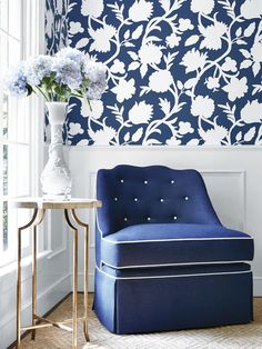 Navy and white — few colors go together so well and, literally, never go out of the style. Image courtesy of Thibaut