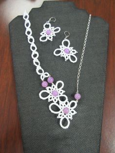 OOAK Assymetrical Necklace and Earrings set in White with Lavender Jade Beads by needledreams on Etsy