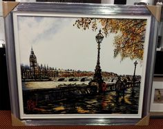 "On the Thames by Nigel Cooke - A 57"" x 50"" original acrylic on board, a statement piece for any room."