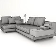 Divano angolare con chaiselongue modello Powell prodotto da Minotti ...