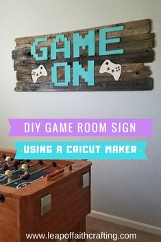 Cricut Chipboard Letters Make Great Wall Art! - Leap of Faith Crafting Cricut Chipboard Projects! Learn how to easily make chipboard letters using a Cricut Maker and the knife blade. Perfect for DIY game room wall art signs! Diy Wand, Kids Wall Decor, Game Room Decor, Craft Room Signs, Room Decorations, Boys Game Room, Boy Room, Kids Room, Mur Diy