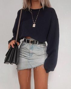 57 Cool Back to School Outfits Ideas for the Flawless Look Denim Skirt Outfits . - 57 Cool Back to School Outfits Ideas for the Flawless Look Denim Skirt Outfits For School - Teen Fashion Outfits, Look Fashion, Fashion Clothes, Fashion Women, Trendy Teen Fashion, Autumn Fashion, Spring Fashion, Fashion Belts, Style Clothes