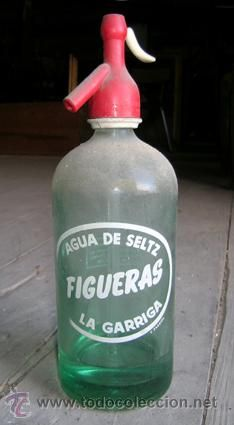 Botella *AGUA de SELTZ Figueras. La Garriga* -- Tapón: Isidro Rubio · Sifón Higiénico · Barcelona