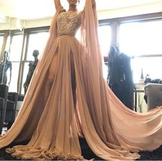 "fashionbeautycouture: ""How do we love this amazing Micheal Costello high slit gown Chiffon gown? I'm in Iove with all the colors blush,tan, nude, coffee, and mocha! """