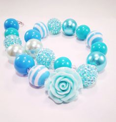 Adorable Light Blue Rose Chunky Gumball Necklace by Withbowsontop, $18.00