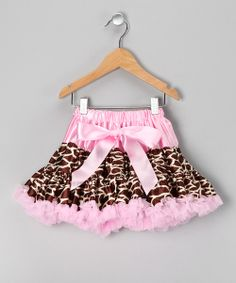 Take a look at the Dance Bug Pink & Brown Giraffe Pettiskirt - Infant, Toddler & Girls on #zulily today!