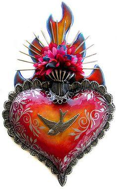 heart of Jesus Religious Icons, Religious Art, Jesus Tattoo, Coeur Tattoo, Sacred Heart Tattoos, Tin Art, Heart Of Jesus, I Love Heart, Art Sites