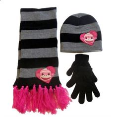 Joe Boxer Womens Monkey Scarf Beanie Gloves Set Black Stripes Hat Stocking Cap. More description on the website.