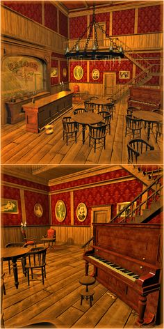 A saloon themed bar room.