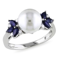 Miadora 10k White Gold Freshwater Pearl, Diamond and Sapphire Ring (9-9.5 mm) | Overstock.com Shopping - Top Rated Miadora Pearl Rings