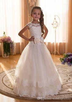 7e70b8f6a4d Vintage Lace Flower Girl Dresses A Line Illusion Bateau Neckline Corset Lace-up  Back Appliqued