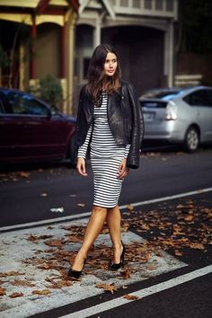 Simple stripes dress with leather coat