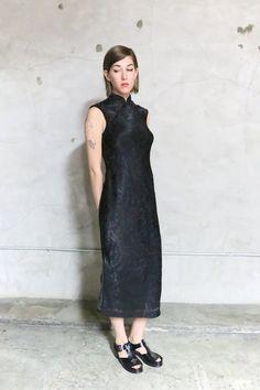 Cheongsam Kleid 90er Jahre schwarz floral von youngandukraine