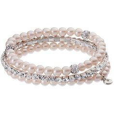Croft & Barrow® Simulated Crystal & Simulated Pearl Stretch Bracelet... ($11) ❤ liked on Polyvore featuring jewelry, bracelets, crystal stone jewelry, faux pearl jewelry, artificial jewellery, fake jewelry and crystal jewelry