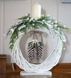 Photo gallery - My neighbor bought 3 tall white candles at the last minute . Christmas Swags, Christmas Flowers, Noel Christmas, Christmas Candles, Christmas Crafts, White Christmas, Christmas Neighbor, Holiday Burlap Wreath, Diy Wreath