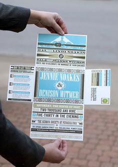 I like the way this folds...  Think of invite in the middle engagement pics on top &bottom  more info and rsvp on the sides