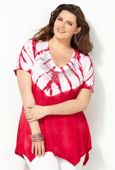 Stud Embellished Tie Dye Sharkbite Top-Plus Size Sharkbite Top-Avenue Plus Size Womens Clothing, Plus Size Outfits, Plus Size Fashion, Clothes For Women, Size Clothing, Plus Size Stores, Red Fashion, Fashion Styles, Womens Fashion