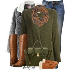 Love the boot and the green sweater.