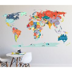 World map decal political world map wall decal country names map found it at wayfair world interactive map wall decal gumiabroncs Images
